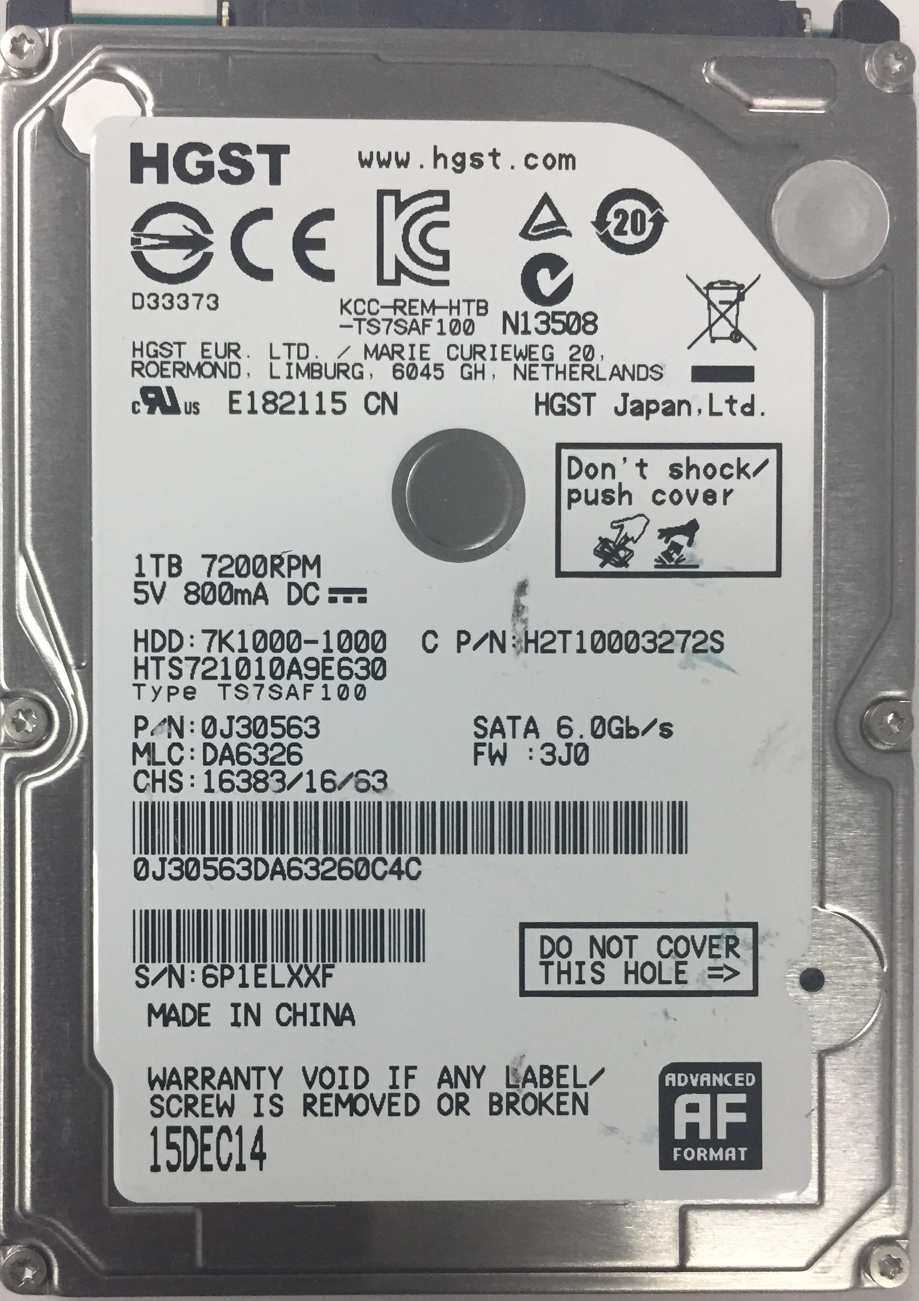 Hitachi HTS721010A9E630, 2 5